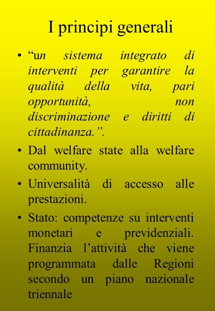 I principi generali un sistema integrato di interventi per garantire la qualità della vita, pari opportunità, non discriminazione e diritti di cittadinanza..