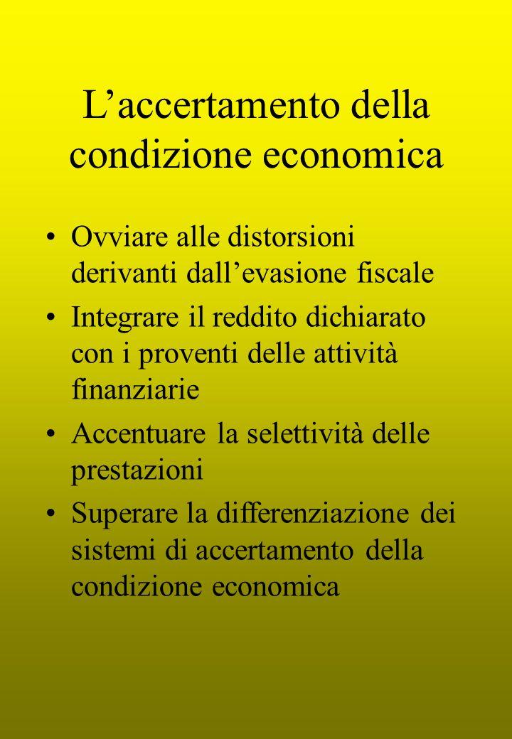 Laccertamento della condizione economica Ovviare alle distorsioni derivanti dallevasione fiscale Integrare il reddito dichiarato con i proventi delle