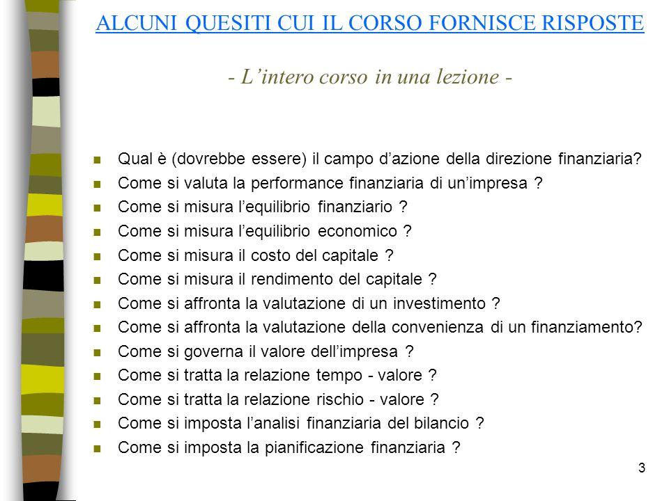 3 ALCUNI QUESITI CUI IL CORSO FORNISCE RISPOSTE - Lintero corso in una lezione - n Qual è (dovrebbe essere) il campo dazione della direzione finanziar