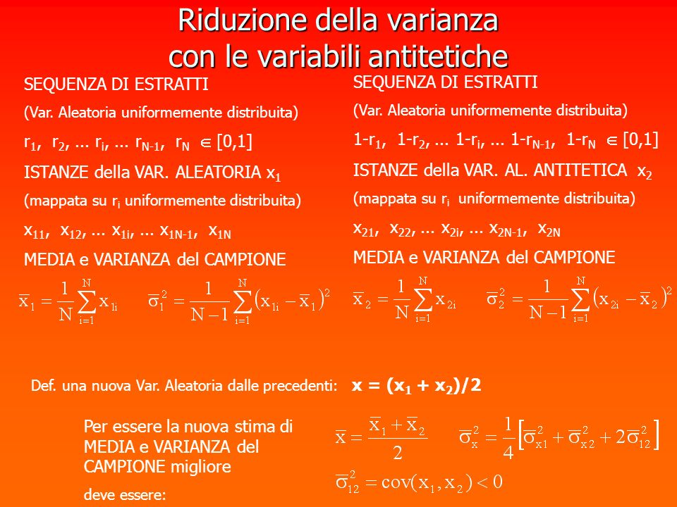 Riduzione della varianza con le variabili antitetiche SEQUENZA DI ESTRATTI (Var. Aleatoria uniformemente distribuita) r 1, r 2,... r i,... r N-1, r N