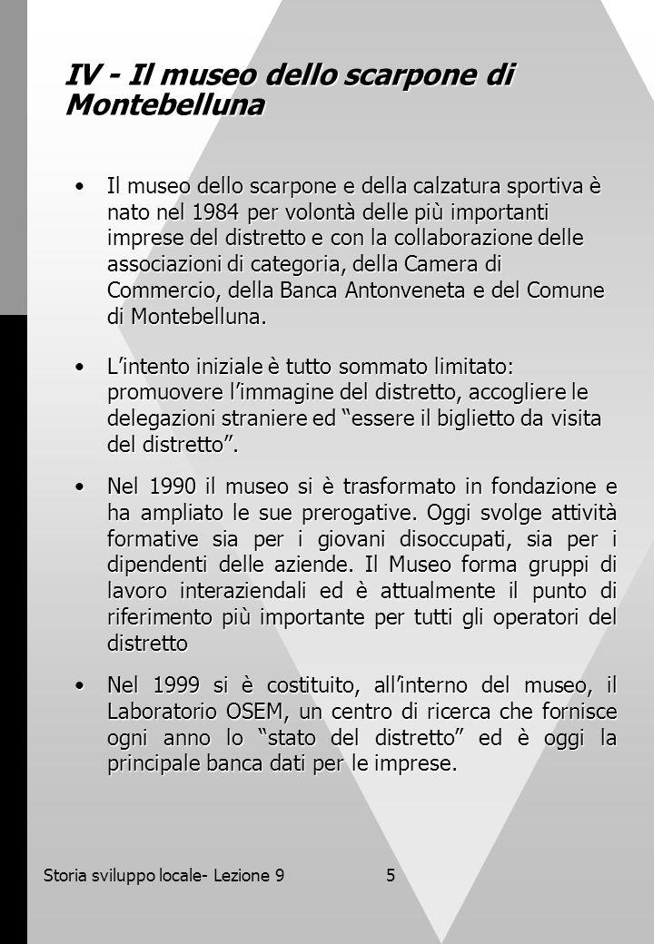 Storia sviluppo locale- Lezione 95 IV - Il museo dello scarpone di Montebelluna Il museo dello scarpone e della calzatura sportiva è nato nel 1984 per