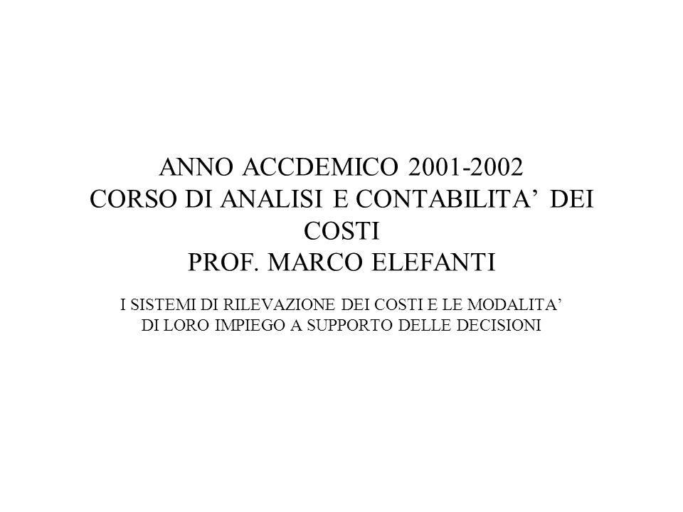 ANNO ACCDEMICO 2001-2002 CORSO DI ANALISI E CONTABILITA DEI COSTI PROF.