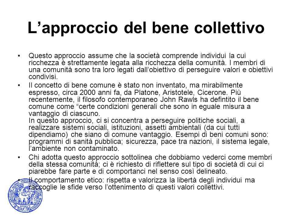 Lapproccio del bene collettivo Questo approccio assume che la società comprende individui la cui ricchezza è strettamente legata alla ricchezza della comunità.