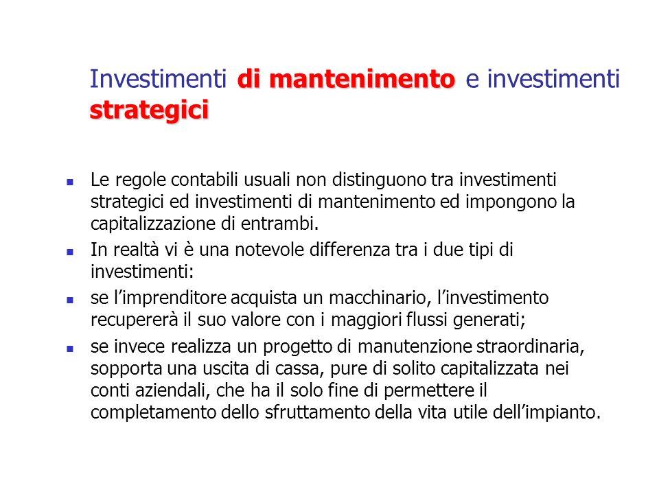 Una differenza di grande rilievo Il primo è un investimento strategico, orientato a creare nuovo valore; il secondo è un investimento non discrezionale, che non crea valore ma che si limita a difendere la capacità esistente di creare valore.
