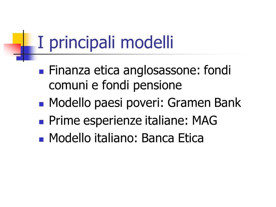 I principali modelli Finanza etica anglosassone: fondi comuni e fondi pensione Modello paesi poveri: Gramen Bank Prime esperienze italiane: MAG Modello italiano: Banca Etica