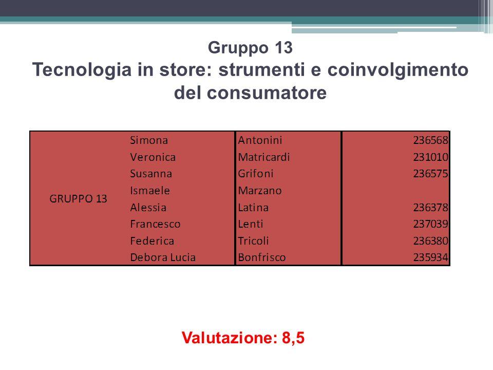 Gruppo 13 Tecnologia in store: strumenti e coinvolgimento del consumatore Valutazione: 8,5