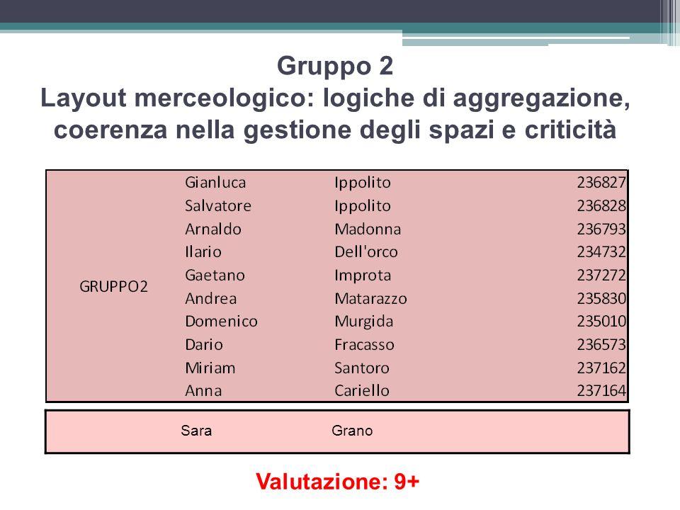 Gruppo 2 Layout merceologico: logiche di aggregazione, coerenza nella gestione degli spazi e criticità Sara Grano Valutazione: 9+