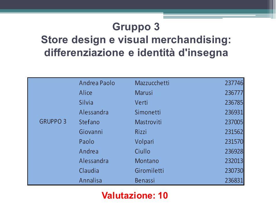 Gruppo 3 Store design e visual merchandising: differenziazione e identità d'insegna Valutazione: 10