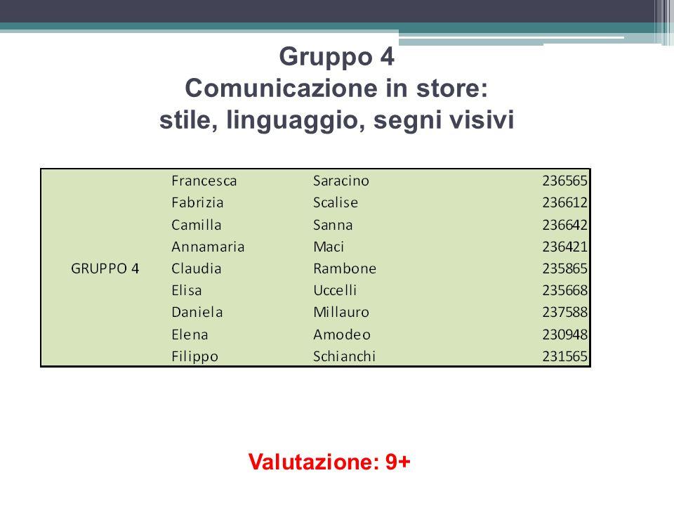 Gruppo 4 Comunicazione in store: stile, linguaggio, segni visivi Valutazione: 9+