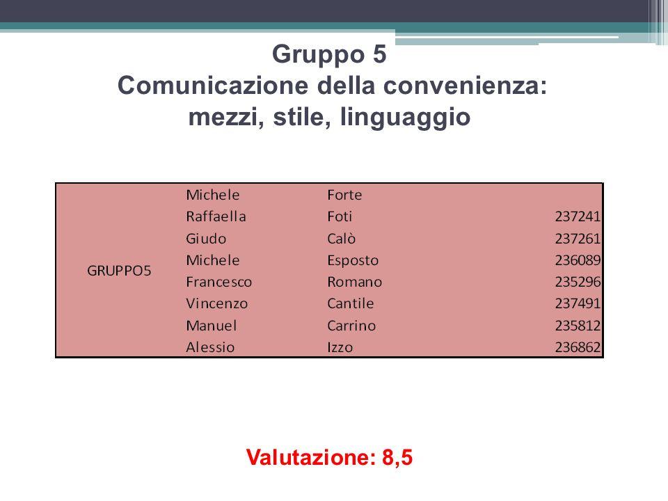 Gruppo 5 Comunicazione della convenienza: mezzi, stile, linguaggio Valutazione: 8,5