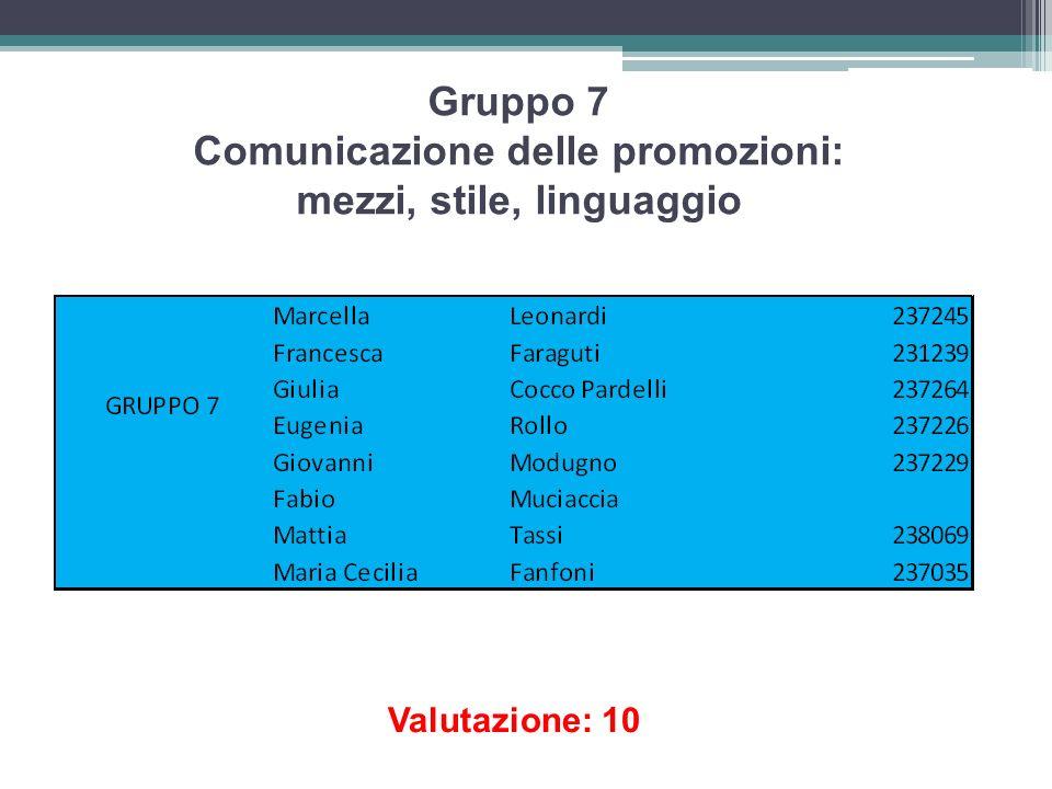 Gruppo 7 Comunicazione delle promozioni: mezzi, stile, linguaggio Valutazione: 10