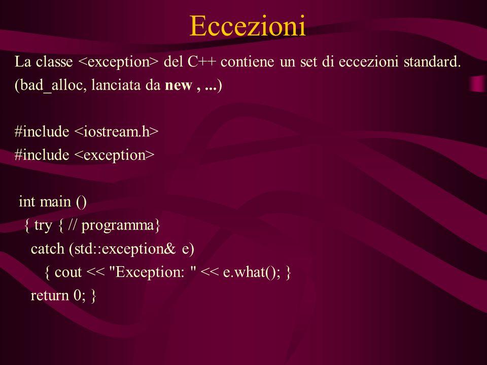 Eccezioni La classe del C++ contiene un set di eccezioni standard.