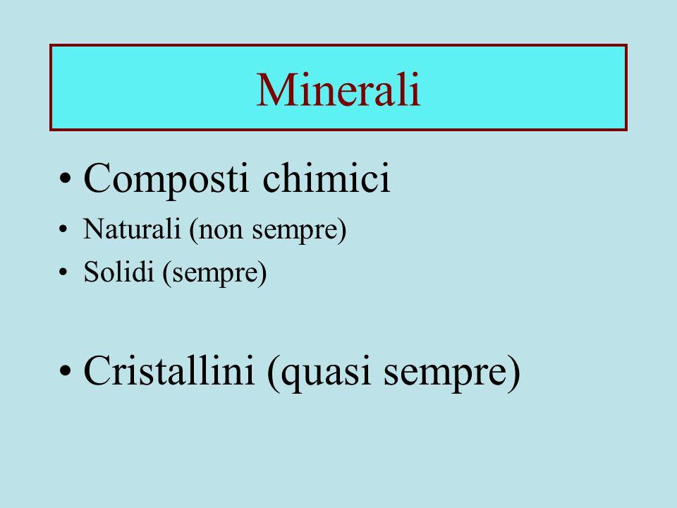 Minerali Composti chimici Naturali (non sempre) Solidi (sempre) Cristallini (quasi sempre)