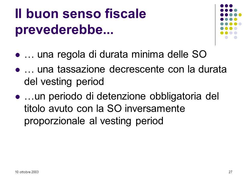 10 ottobre 200327 Il buon senso fiscale prevederebbe...
