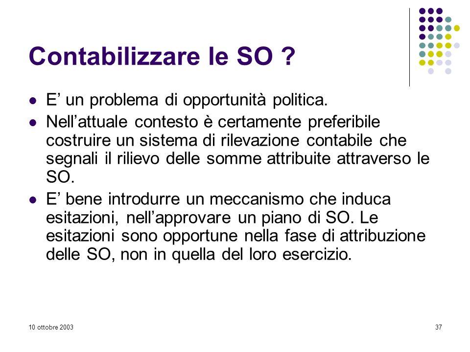 10 ottobre 200337 Contabilizzare le SO .E un problema di opportunità politica.