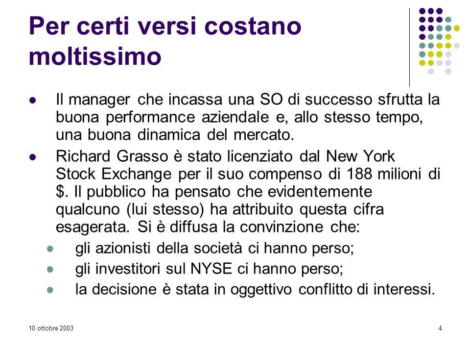 10 ottobre 20034 Per certi versi costano moltissimo Il manager che incassa una SO di successo sfrutta la buona performance aziendale e, allo stesso tempo, una buona dinamica del mercato.