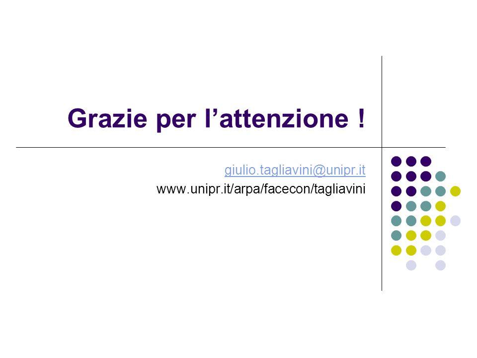 Grazie per lattenzione ! giulio.tagliavini@unipr.it www.unipr.it/arpa/facecon/tagliavini