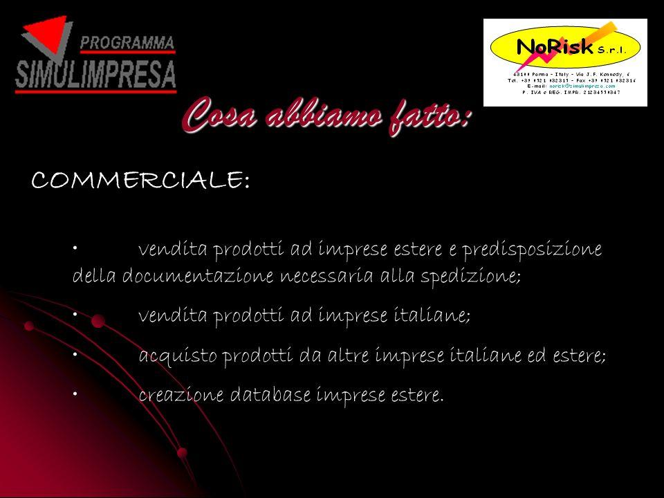 Cosa abbiamo fatto: vendita prodotti ad imprese estere e predisposizione della documentazione necessaria alla spedizione; vendita prodotti ad imprese italiane; acquisto prodotti da altre imprese italiane ed estere; creazione database imprese estere.