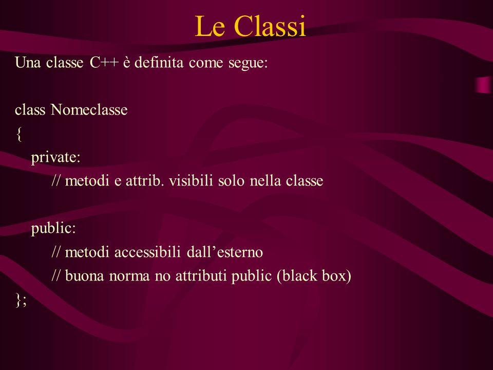 Le Classi Una classe C++ è definita come segue: class Nomeclasse { private: // metodi e attrib.