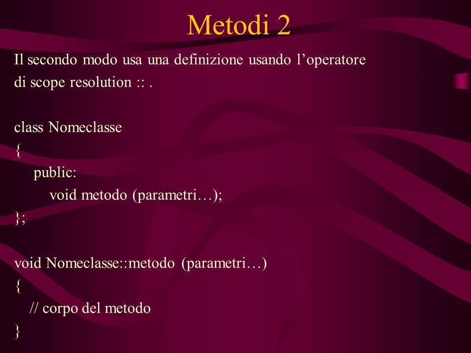 Metodi 2 Il secondo modo usa una definizione usando loperatore di scope resolution ::.