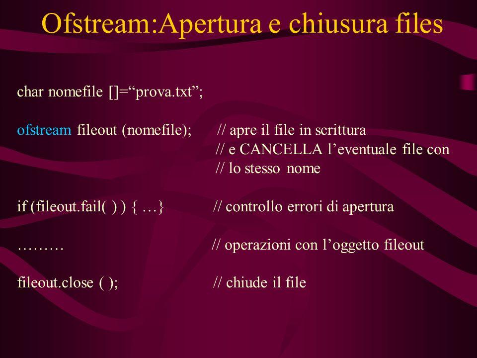 Ofstream:Apertura e chiusura files char nomefile []=prova.txt; ofstream fileout (nomefile); // apre il file in scrittura // e CANCELLA leventuale file con // lo stesso nome if (fileout.fail( ) ) { …} // controllo errori di apertura ……… // operazioni con loggetto fileout fileout.close ( ); // chiude il file