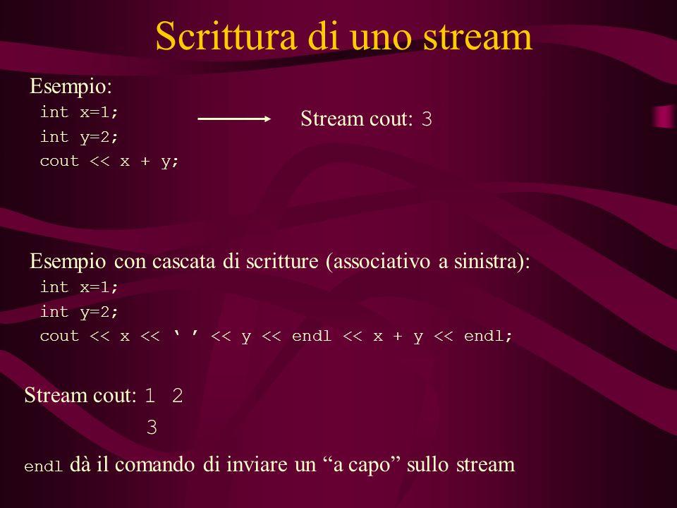 Scrittura di uno stream Esempio: int x=1; int y=2; cout << x + y; Stream cout: 3 Esempio con cascata di scritture (associativo a sinistra): int x=1; int y=2; cout << x << << y << endl << x + y << endl; Stream cout: 1 2 3 endl dà il comando di inviare un a capo sullo stream