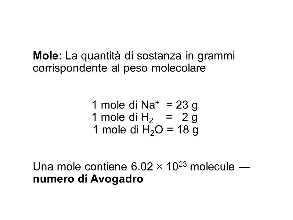 Mole: La quantità di sostanza in grammi corrispondente al peso molecolare 1 mole di Na + = 23 g 1 mole di H 2 = 2 g 1 mole di H 2 O = 18 g Una mole co