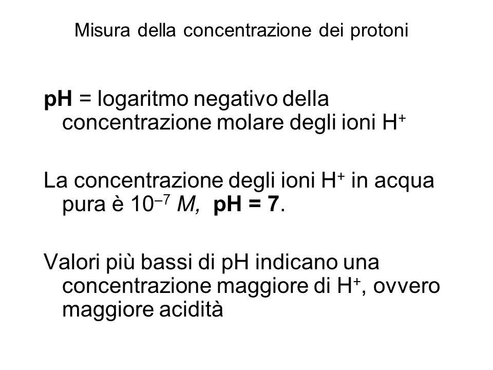 pH = logaritmo negativo della concentrazione molare degli ioni H + La concentrazione degli ioni H + in acqua pura è 10 –7 M, pH = 7. Valori più bassi
