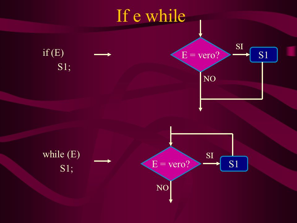 If e while if (E) S1; S1 E = vero? SI NO while (E) S1; E = vero? SI NO S1
