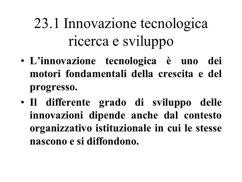 23.1 Innovazione tecnologica ricerca e sviluppo Ricerca e sviluppo= specifica funzione aziendale specializzata nella generazione e nella applicazione di innovazioni tecnologiche.