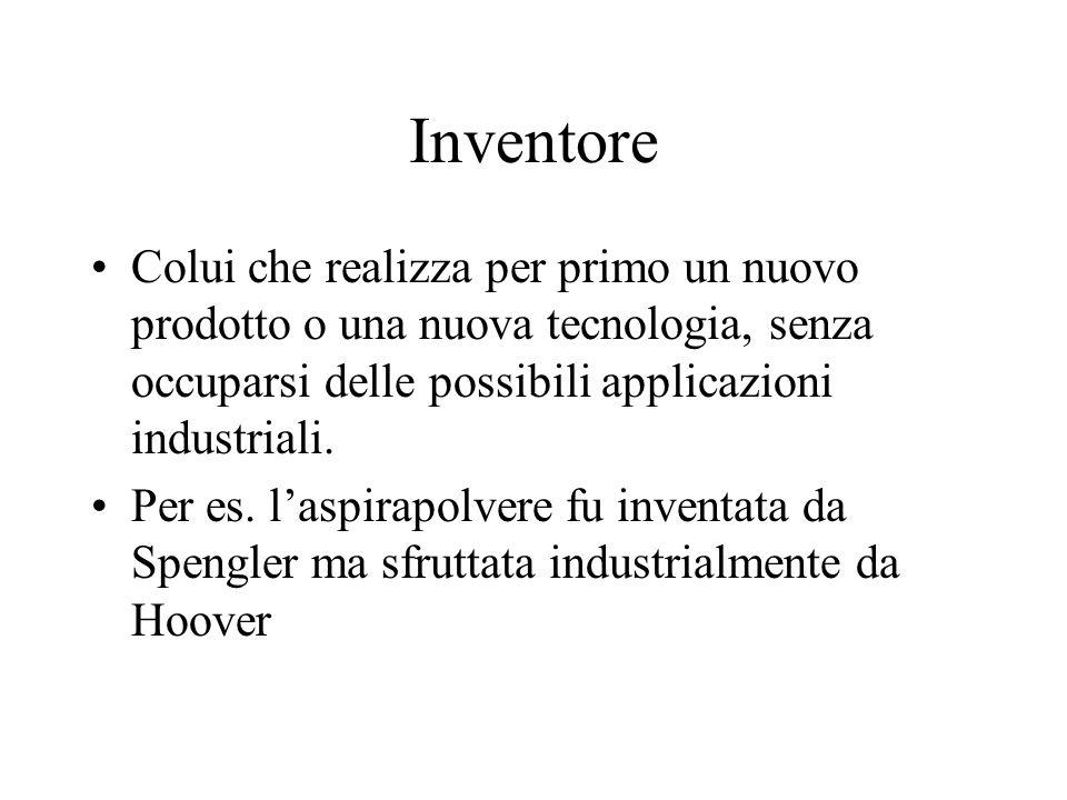 Innovatore Colui che partendo da uninvenzione è in grado di capirne la portata applicativa in termini industriali e commerciali.