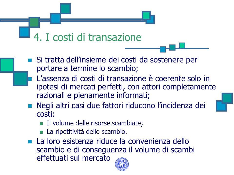 4. I costi di transazione Si tratta dellinsieme dei costi da sostenere per portare a termine lo scambio; Lassenza di costi di transazione è coerente s