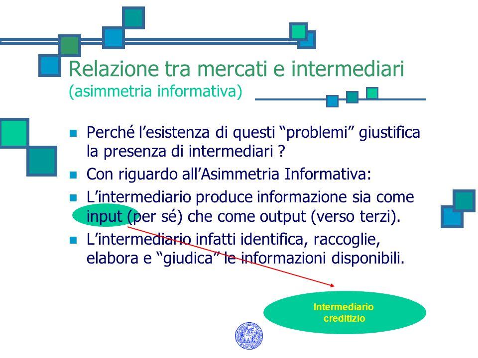 Relazione tra mercati e intermediari (asimmetria informativa) Perché lesistenza di questi problemi giustifica la presenza di intermediari ? Con riguar