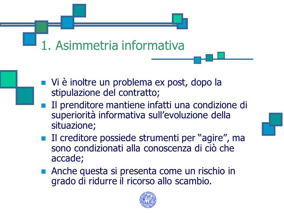 1. Asimmetria informativa Vi è inoltre un problema ex post, dopo la stipulazione del contratto; Il prenditore mantiene infatti una condizione di super