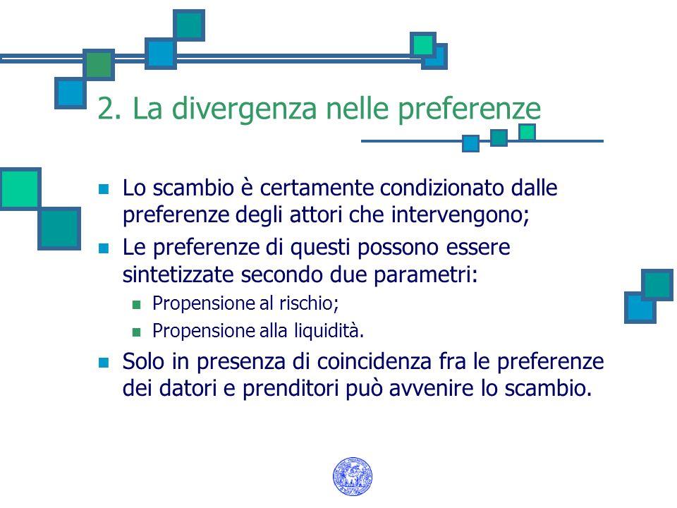 2. La divergenza nelle preferenze Lo scambio è certamente condizionato dalle preferenze degli attori che intervengono; Le preferenze di questi possono