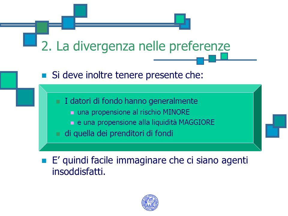 2. La divergenza nelle preferenze Si deve inoltre tenere presente che: I datori di fondo hanno generalmente una propensione al rischio MINORE e una pr