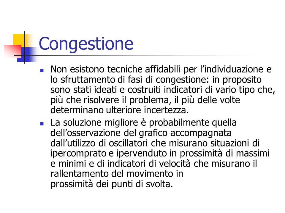 Congestione Non esistono tecniche affidabili per lindividuazione e lo sfruttamento di fasi di congestione: in proposito sono stati ideati e costruiti