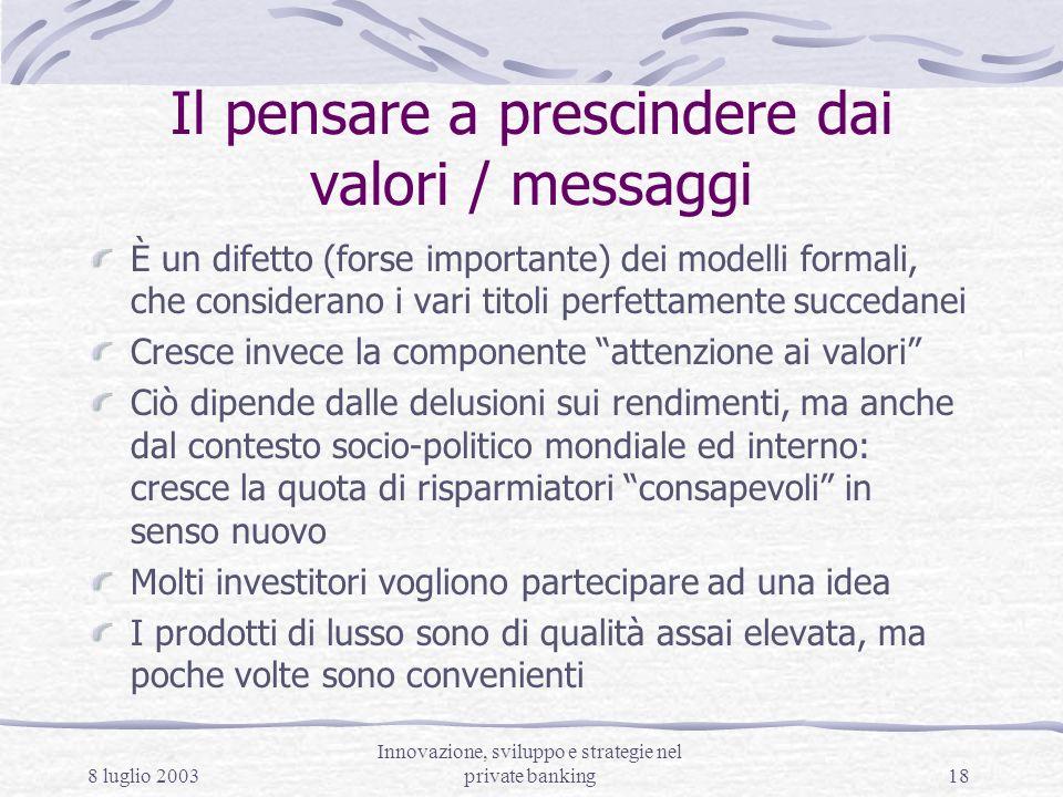 8 luglio 2003 Innovazione, sviluppo e strategie nel private banking18 Il pensare a prescindere dai valori / messaggi È un difetto (forse importante) d