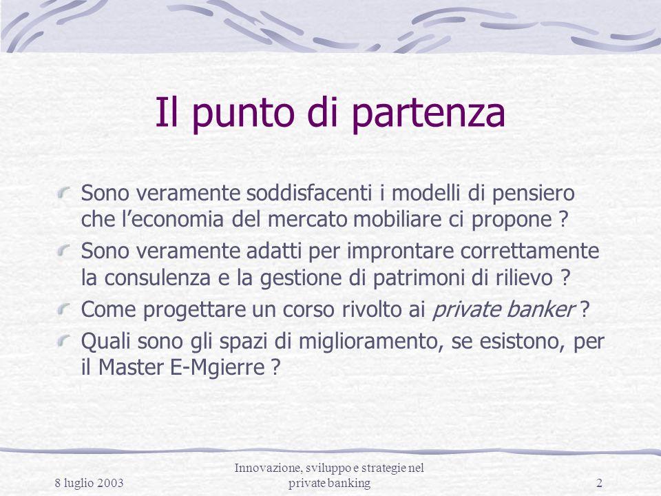 8 luglio 2003 Innovazione, sviluppo e strategie nel private banking3 Gli spazi di innovazione Leconomia del mercato mobiliare propone logiche (modi di pensare – atteggiamenti mentali) soddisfacenti per il trader e per il gestore.