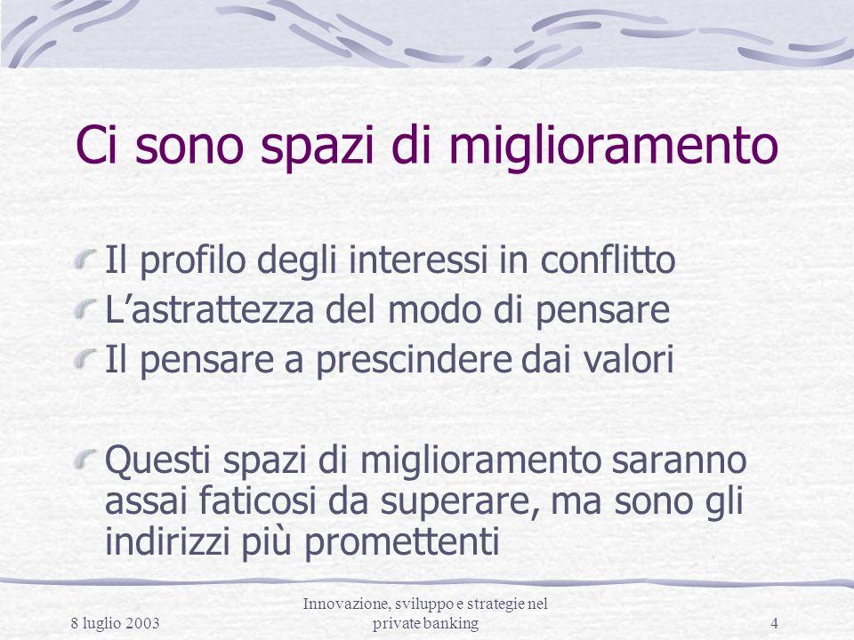 8 luglio 2003 Innovazione, sviluppo e strategie nel private banking4 Ci sono spazi di miglioramento Il profilo degli interessi in conflitto Lastrattez