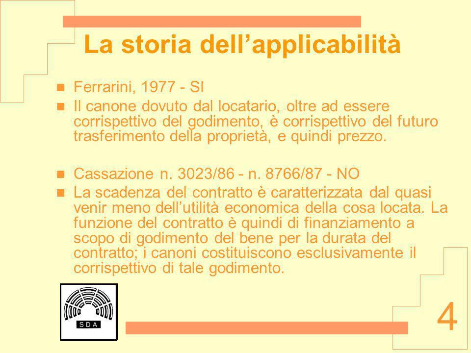 4 La storia dellapplicabilità Ferrarini, 1977 - SI Il canone dovuto dal locatario, oltre ad essere corrispettivo del godimento, è corrispettivo del fu