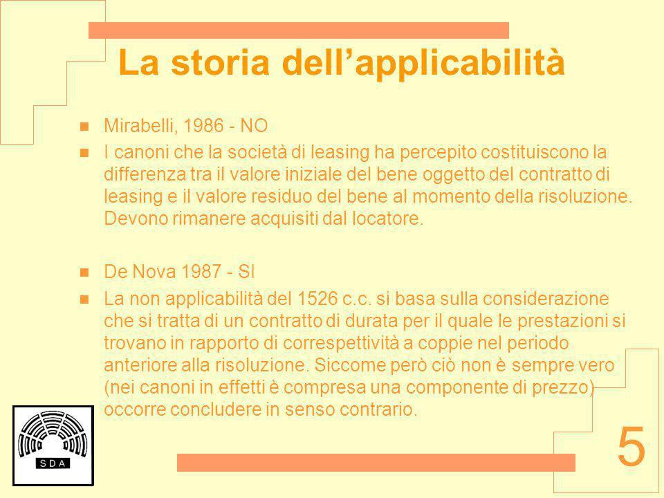5 La storia dellapplicabilità Mirabelli, 1986 - NO I canoni che la società di leasing ha percepito costituiscono la differenza tra il valore iniziale