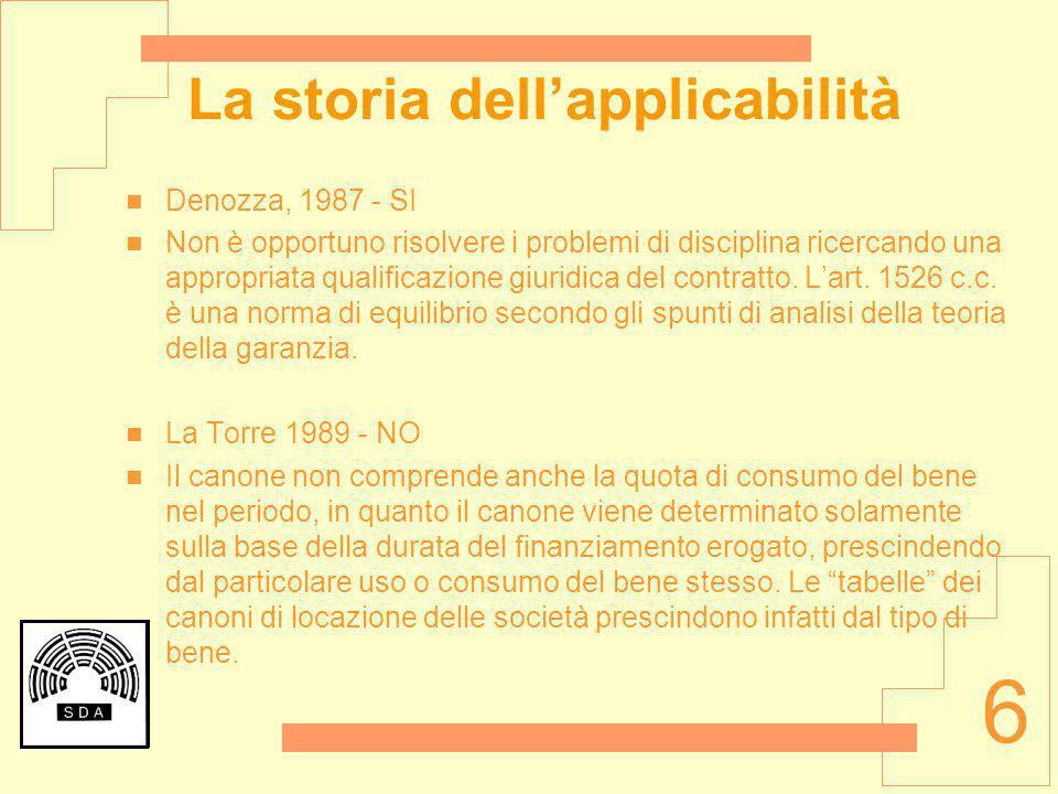 6 La storia dellapplicabilità Denozza, 1987 - SI Non è opportuno risolvere i problemi di disciplina ricercando una appropriata qualificazione giuridic