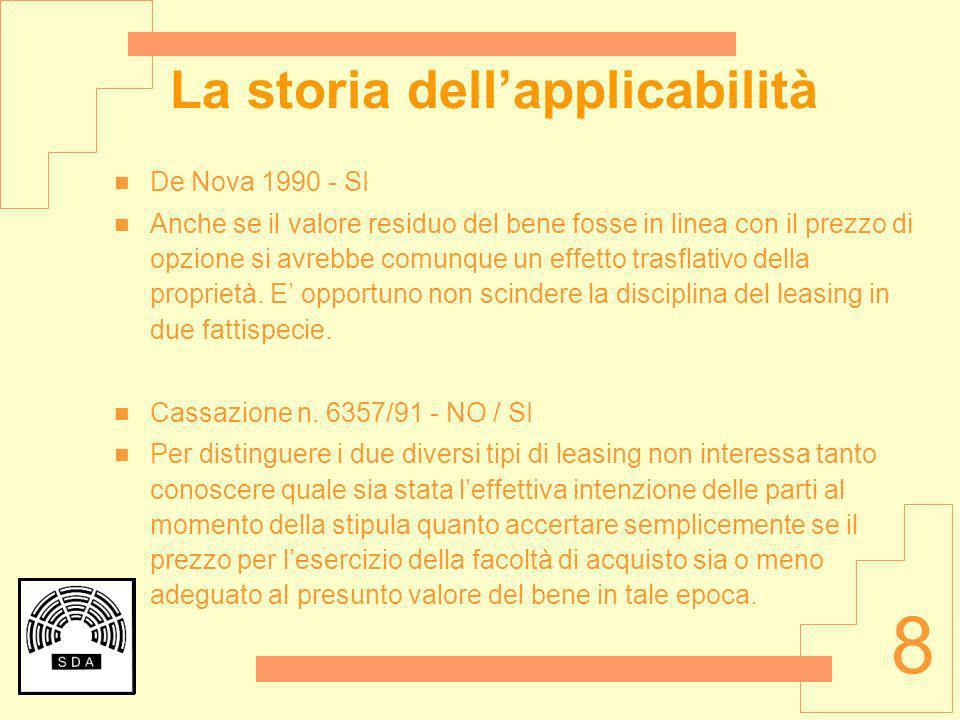 8 La storia dellapplicabilità De Nova 1990 - SI Anche se il valore residuo del bene fosse in linea con il prezzo di opzione si avrebbe comunque un eff
