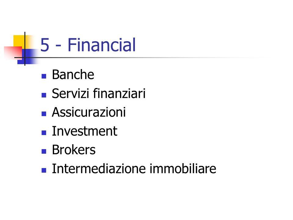 5 - Financial Banche Servizi finanziari Assicurazioni Investment Brokers Intermediazione immobiliare