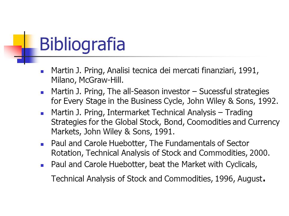 Bibliografia Martin J. Pring, Analisi tecnica dei mercati finanziari, 1991, Milano, McGraw-Hill. Martin J. Pring, The all-Season investor – Sucessful