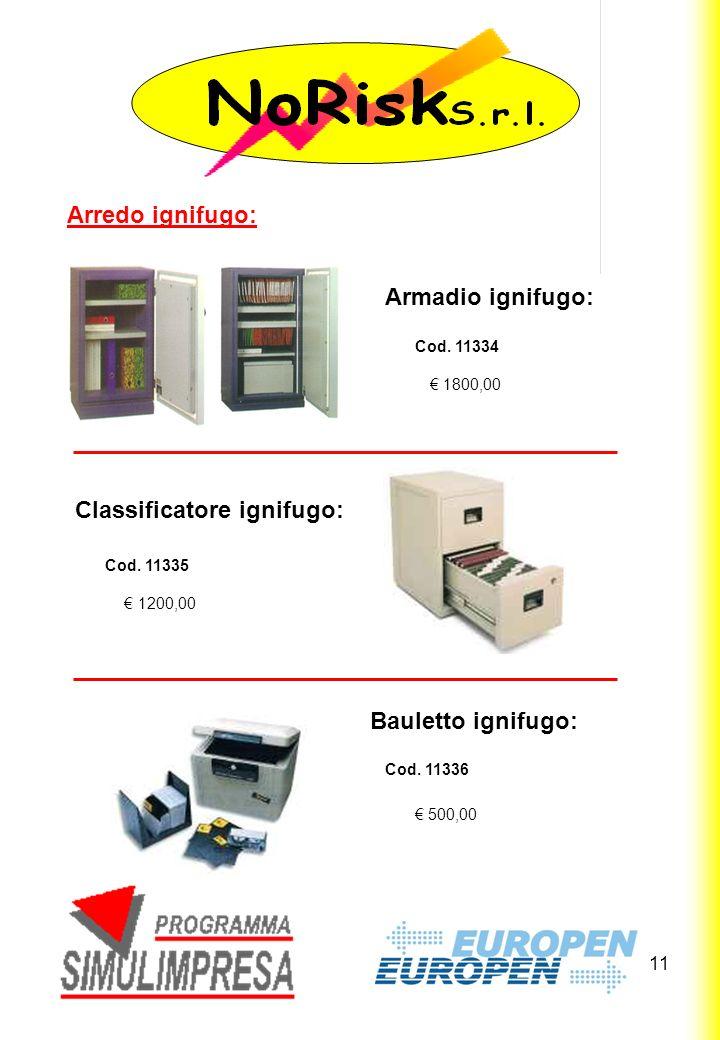 11 1800,00 Arredo ignifugo: Armadio ignifugo: 1200,00 500,00 Classificatore ignifugo: Bauletto ignifugo: Cod.