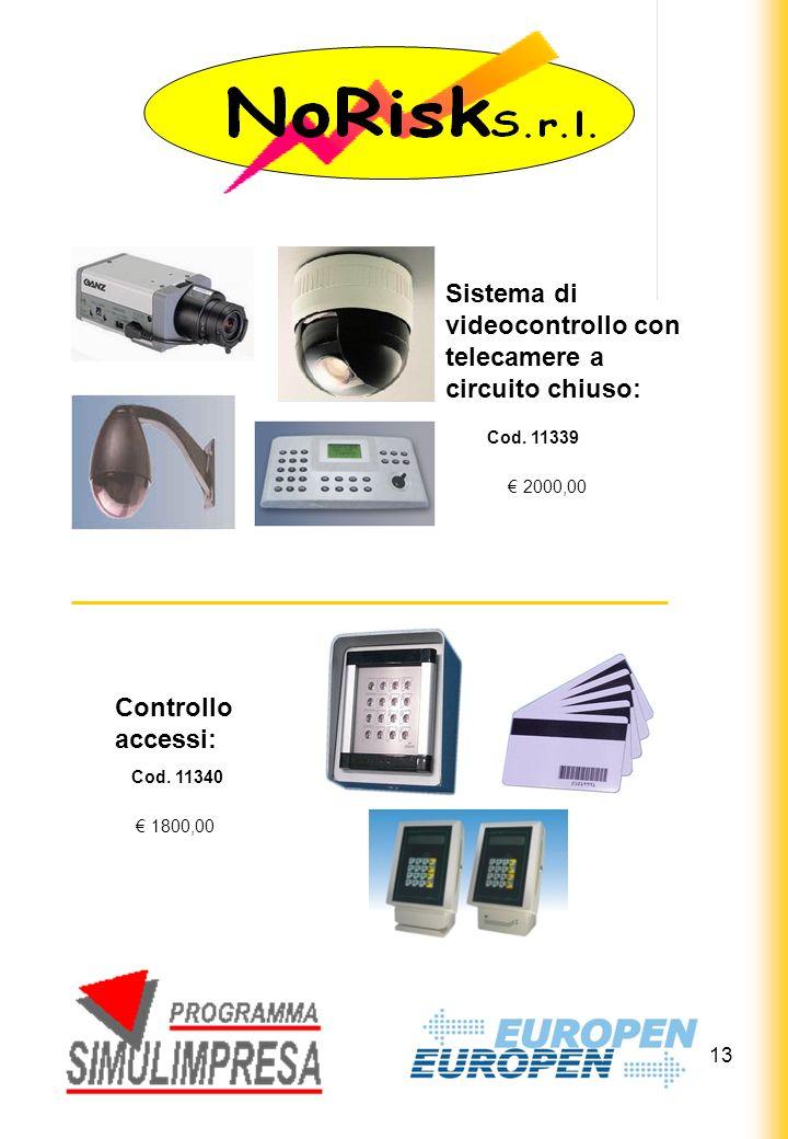 13 Sistema di videocontrollo con telecamere a circuito chiuso: 2000,00 Controllo accessi: 1800,00 Cod.