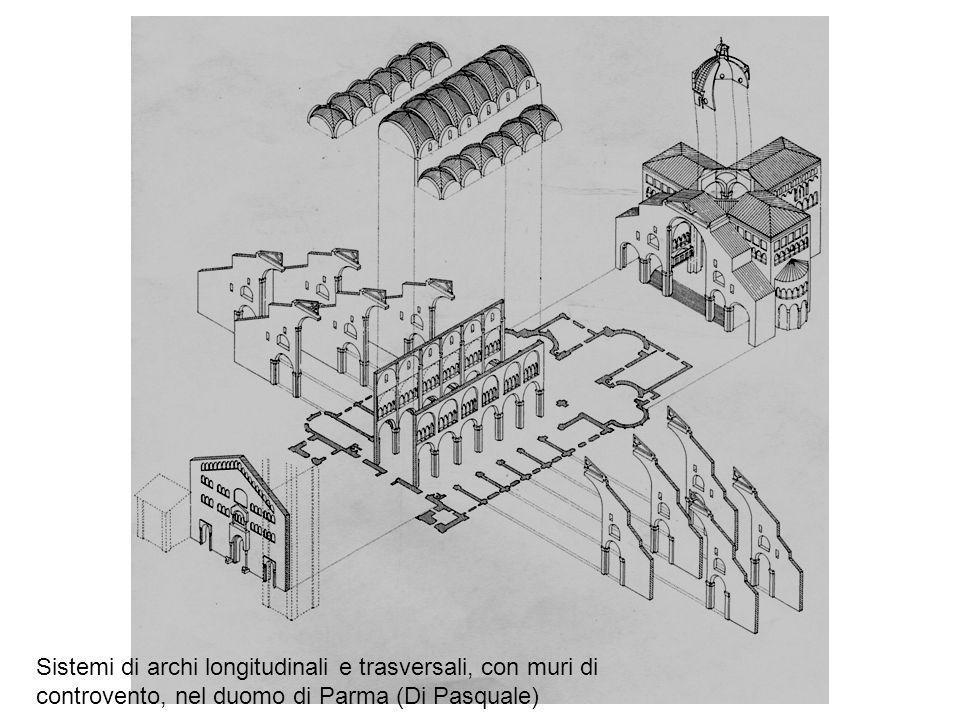 Deformazioni e fratture in un arco della cripta del duomo di Parma, dovute al cedimento verticale di un appoggio