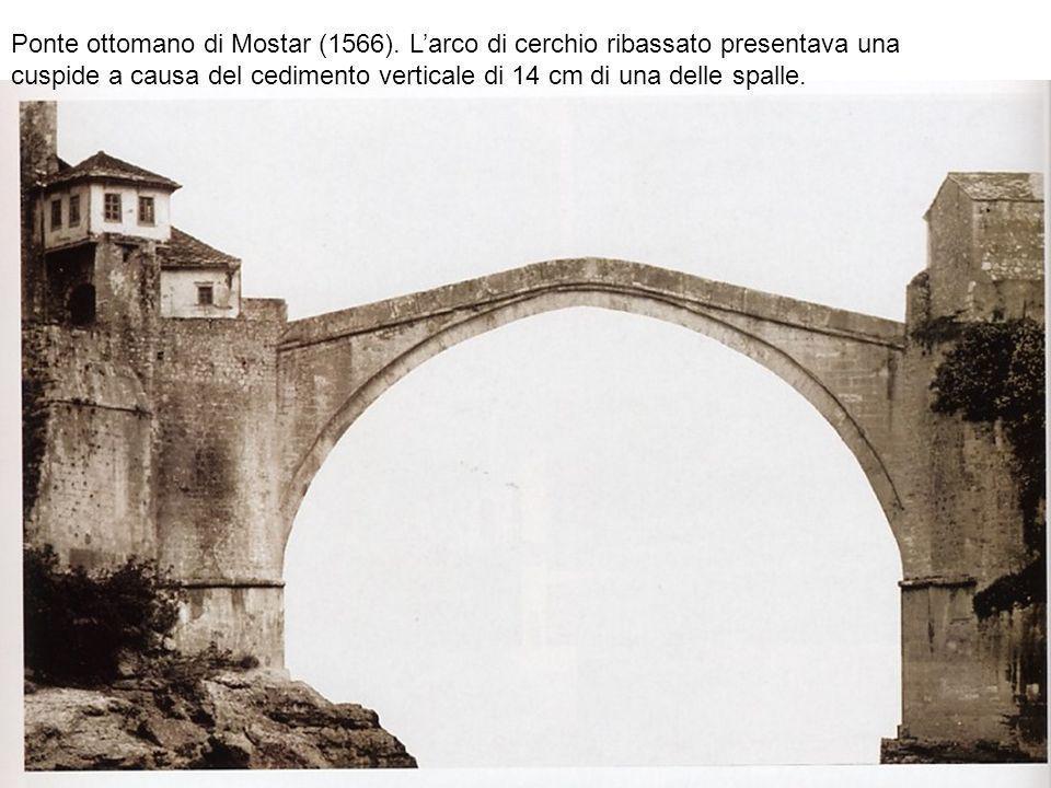 Ponte ottomano di Mostar (1566). Larco di cerchio ribassato presentava una cuspide a causa del cedimento verticale di 14 cm di una delle spalle.